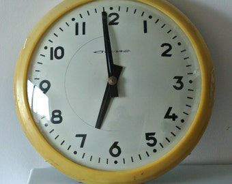 Shabby Chic Soviet Vintage Industrial Clock, Vintage School Clock, Salvaged Industrial Clock, Large Wall Clock, Wall Decor