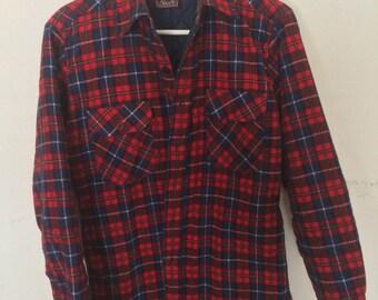 Vintage Plaid Flannel Hunting Shirt Small S Medium M