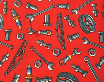 """BLANK, """"Mechanic's Tools"""", Red Background, 100% Cotton"""