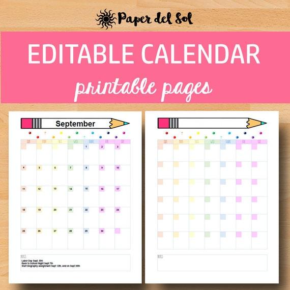 Calendar Monthly Editable : Printable calendar  editable monthly