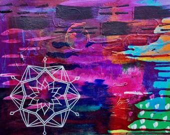 """Original 11"""" x 14"""" Abstract Mandala Painting: Magenta"""