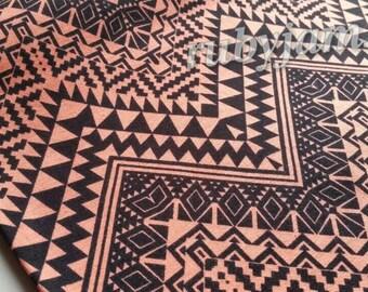 Terracotta Black Tribal Chevron Fabric - Cotton Lycra - Stretch Knit Fabric - 4 Way Stretch Fabric - Cotton Spandex - Modern Fabric - Clay
