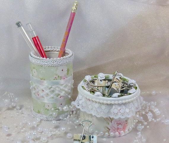 Desk Accessories Makeup Organizer Shabby Chic