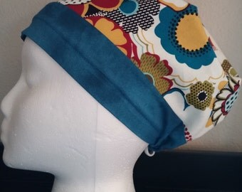 Women's Surgical Cap, Scrub Hat, Chemo Cap, Floral Hat with Blue Band