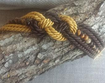 Bracelet silk cord with tiger eye stones