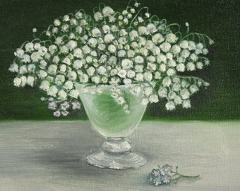 Lilies of the valley - original oil painting, 18x24 sm, flowers,green, summer,art, drawing, illustration