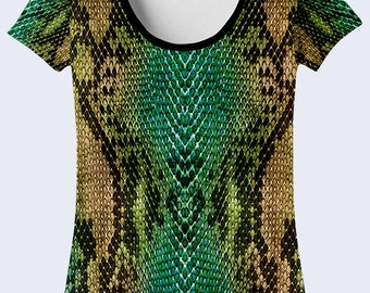 Womens T Shirt, Snake T Shirt, Cool Shirt, Shirt for Women, Snake Skales Printed T-Shirt, Green
