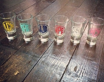 Monogram Shotglass for Bride, Bridal Party, Bachelorette, Groom, Groomsmen, Bachelor Party