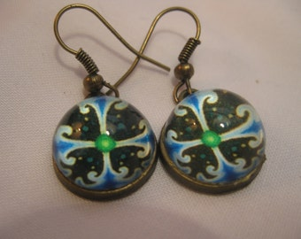 Celtic Style Earrings Blue And Black
