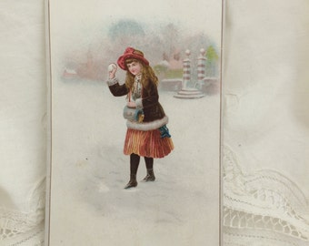 Trade Card, Girl with Snowball, Winter-theme Trade Card, Snow Scene Trade Card, Antique Print, Tiny Print, Little Girl with Snowballs