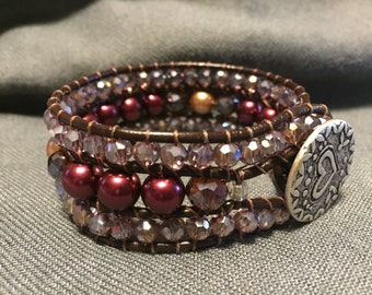 Maroon Pearl bracelet