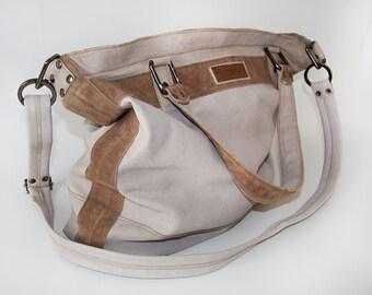 Weekender / Travelbag made of lambskin in grey-brown