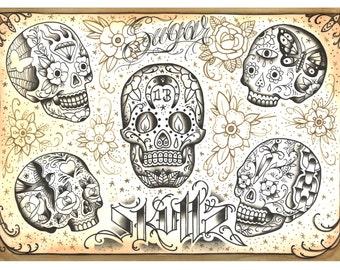 """Tattoo Print """"SUGAR SKULLS"""" Johnny BARREL"""