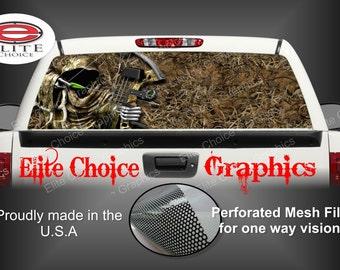 Bow Reaper Grass Camo Rear Window Graphic Tint Decal Sticker Truck SUV Van Car