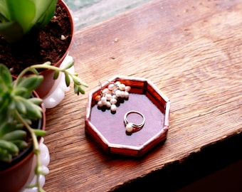 Octagon Stained Glass Ring Dish / Jewelry Tray - Amber + Copper
