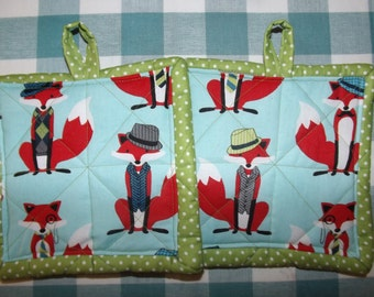 Quilted Potholders - Dapper Fox