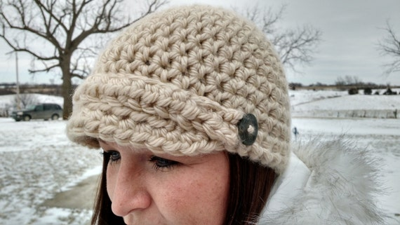 Crochet Newsboy Hat Beanie with bill and by NerdyNeedleNotions