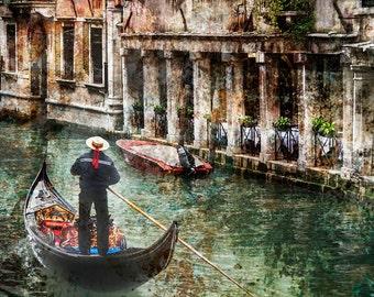 Venice Italy, Gondola, Old Building, Gondola Canal Textured Photo, Trattoria Gondola Print,  Venice Wall Art, Fine Art Photo