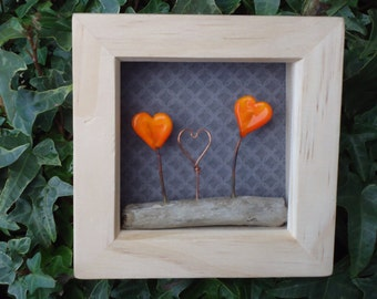 3D Glass Hearts Picture
