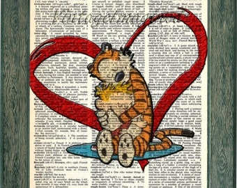 Calvin and Hobbes art print 8x10 on upcycled vintage dictionary or book page, calvin and hobbes gift, home decor