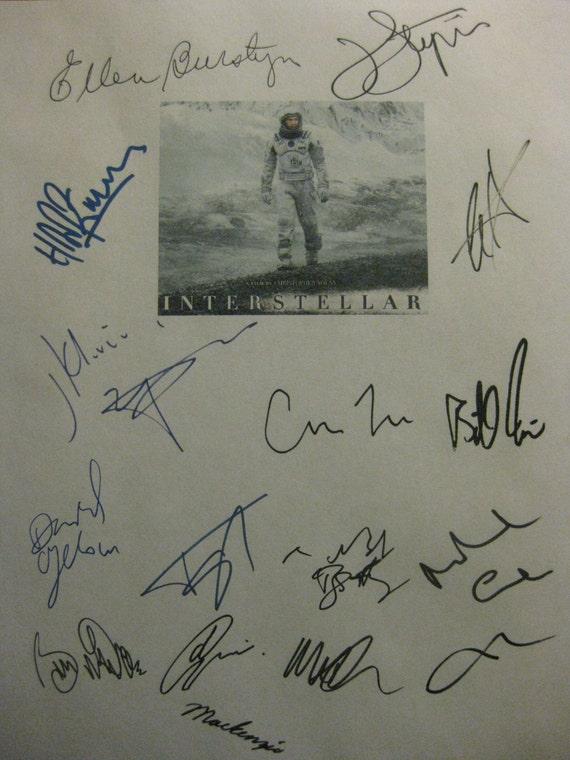 Interstellar Signed Film Movie Script X16 Autograph Matthew McConaughey Anne Hathaway Matt Damon John Lithgow Michael Caine Hans Zimmer