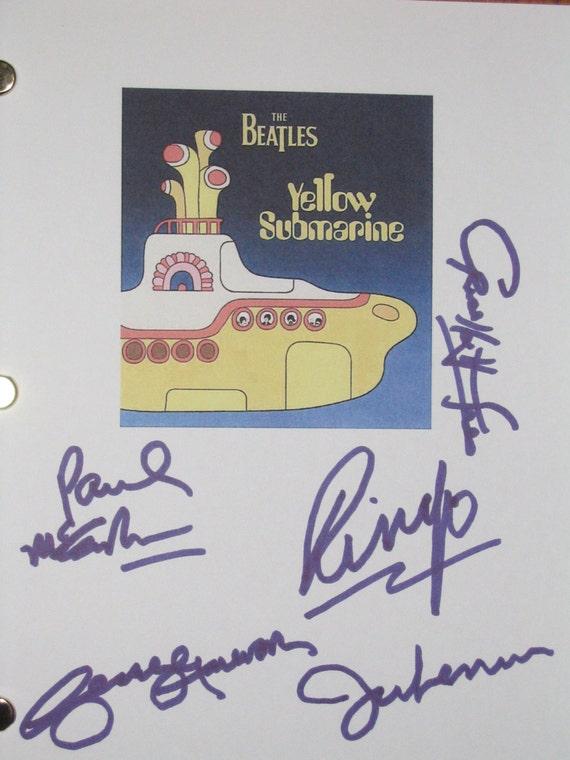 Yellow Submarine Signed Film Movie Script Screenplay Autographs Musical X5 Beatles John Lennon Ringo Starr Paul McCartney George Harrison