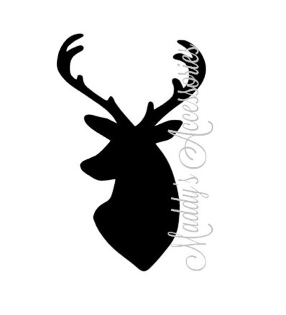 Iron on decal - Deer / Buck Head Silhouette - baby / child clothing accessory