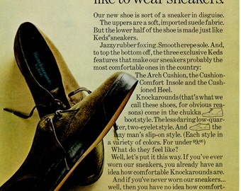 "1960s Keds knockarounds vintage magazine ad  "" designed for Those that like the feel of sneakers"