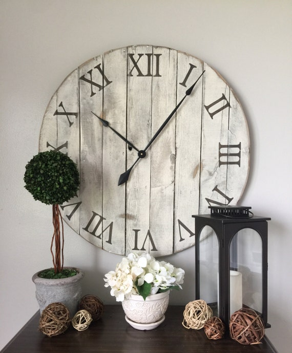 30 in wall clock White oversized wall by WoodLaneCreationsLLC