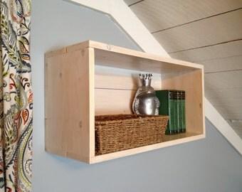 Crate shelf, storage shelf, rustic shelf.