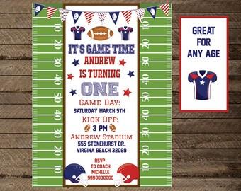 Football Invitation, Boy's Birthday football invite, first birthday, sports invite, football birthday, football theme party, sports theme