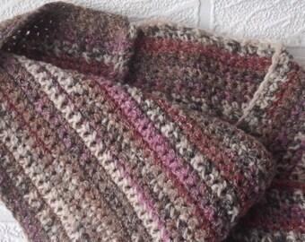 Earth-toned crochet scart, crochet cowl in earthy tones, crochet twisted cowl, womens crochet scarf
