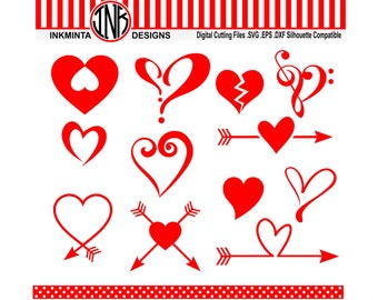 Heart svg, love svg files, arrow heart dxf instant download svg, eps, dxf