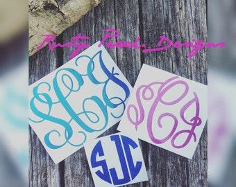 Glitter Monogram Decal, Monogram Sticker, Circle Font, Vine Font, Fancy Font, Your Choice of Color, Glitter Car Decal, Monogram For Her.