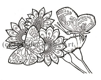 butterfly flower adult coloring colouring page coloring book printable adult coloring hand - Butterfly Coloring Book