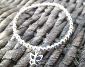A Handmade Sterling Silver Bracelet and Butterfly Charm
