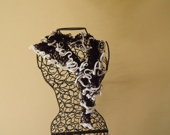 Black and White frilly scarf