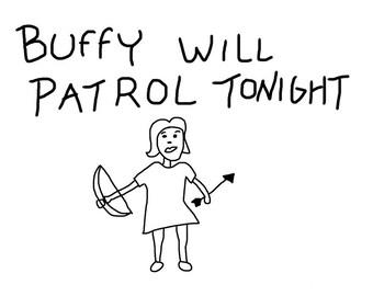 Buffy the Vampire Slayer Hush Giles Patrol Drawing BtVS Decal for Car/Laptop