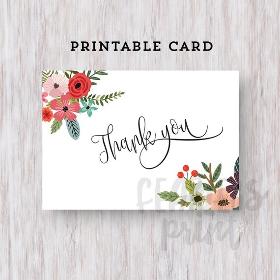 Floral Calligraphy Thank You Card Printable | Printable Thank you Card | Typography Card | Digital Card | Thank You Note INSTANT DOWNLOAD
