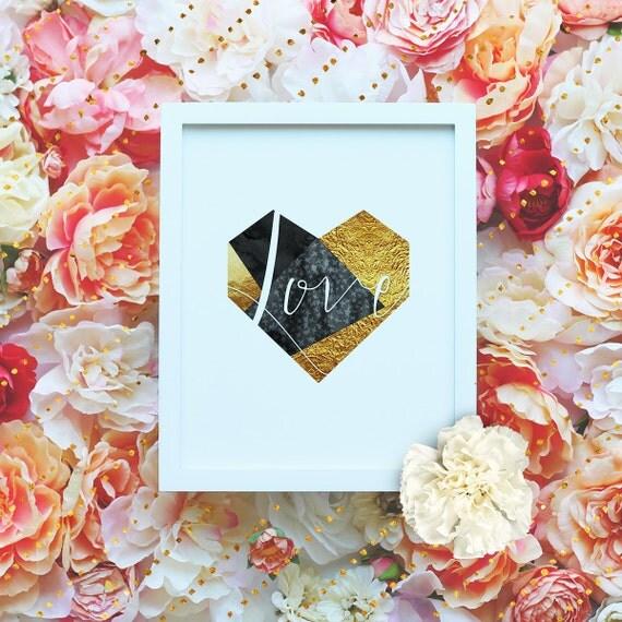 "Love - Golden Heart - 8x10"" Valentines Love Poster - Heart Printable Wall Art-Valentines Gift Print - Love Quote -Instant Download"