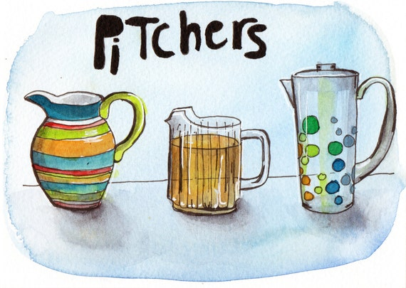Pitchers - Pen and Watercolour Painting