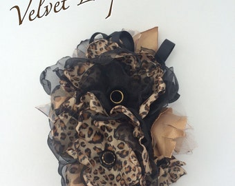 Velvet leopard fabric flower black brown