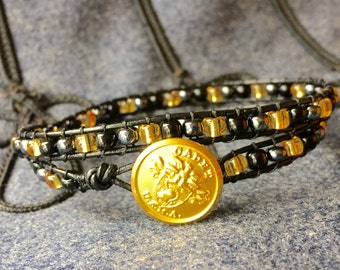 West Point US Military Academy USMA wrap bracelet with USMA button