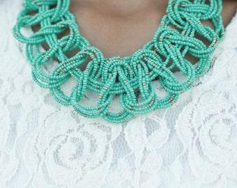 Green beads custom necklace