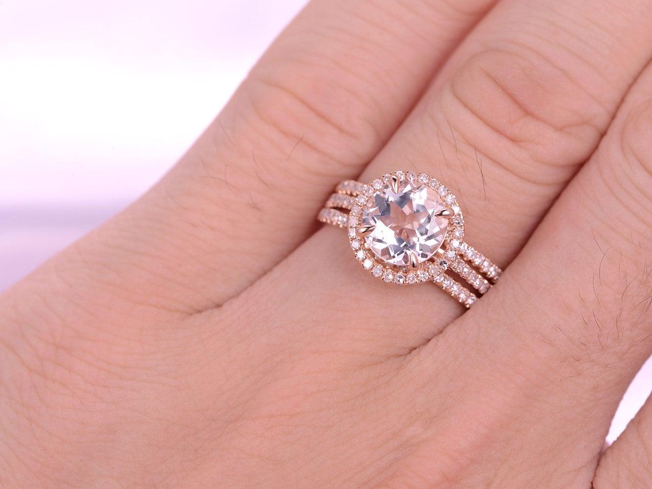 Wedding Ring Set Pink Morganite Engagement Ring 8x8mm Round Cut ...