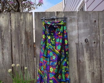 Groovy 1960's Flower Power Psychedelic Maxi Skirt