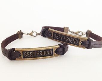 2 Best friend bracelet Antique bronze bracelet Brown leather bracelet Simple bracelet Bff bracelet