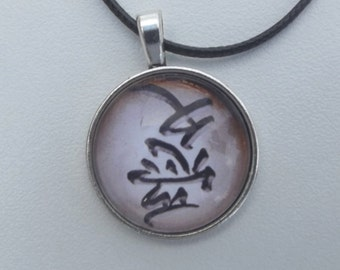 Necklace leather cabochon