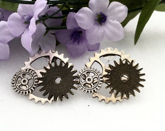 Steampunk Jewelry, Bicycle Earrings, Silver Bronze Steampunk Gear Earrings, Bike Gear Jewelry, Gear Charm Jewelry, Bike Gear Earrings Gifts