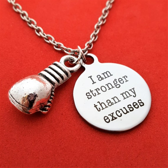 Boxer Charm Necklace, CrossFit Gifts, Boxing Jewelry, I Am Stronger Than My Excuses, Trainer Gifts, Kickboxing Charms, Motivational Quote